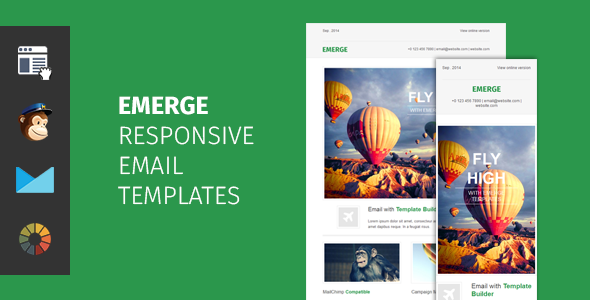 Emerge – responsive email template with editor