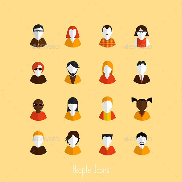 Set of Stylish Avatars of Girls and Guys - People Characters