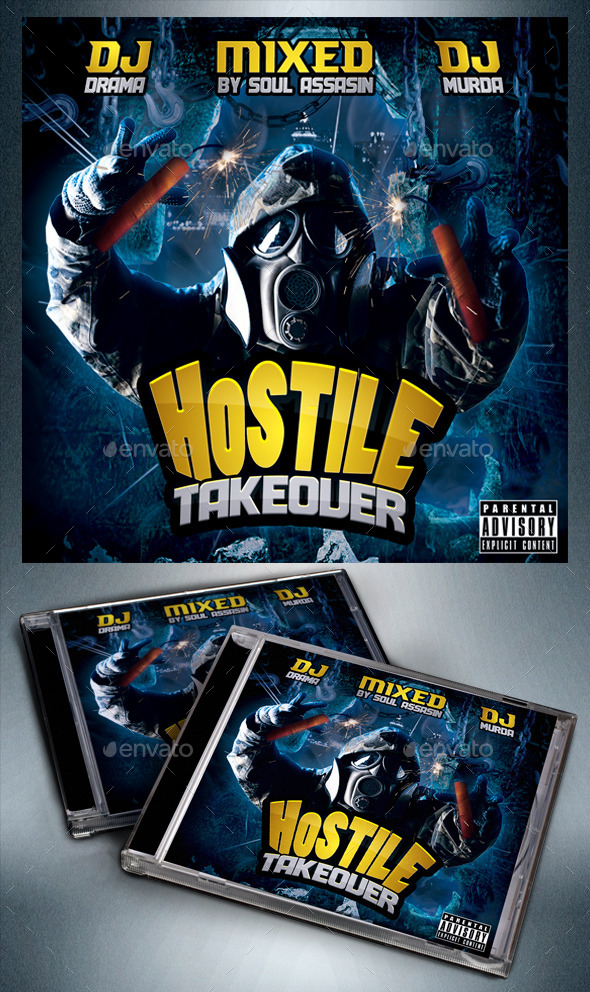 Mixtape - Hostile Takeover PSD - CD & DVD Artwork Print Templates