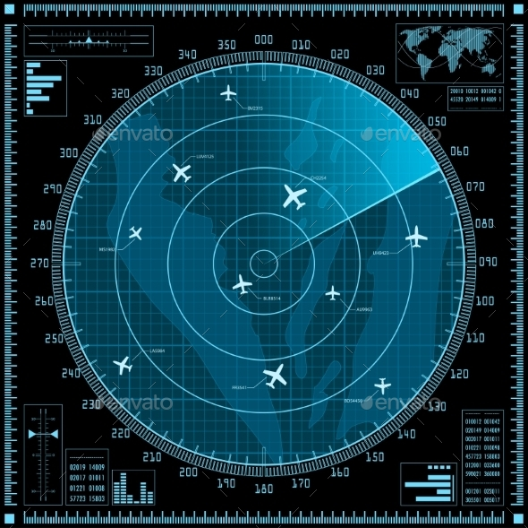 Blue Radar Screen with Planes - Computers Technology