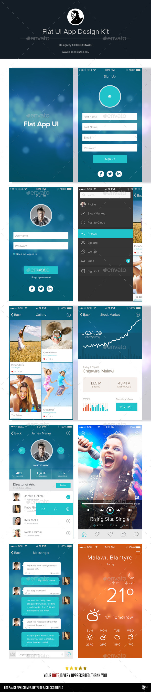 Flat App UI Design Kit - User Interfaces Web Elements