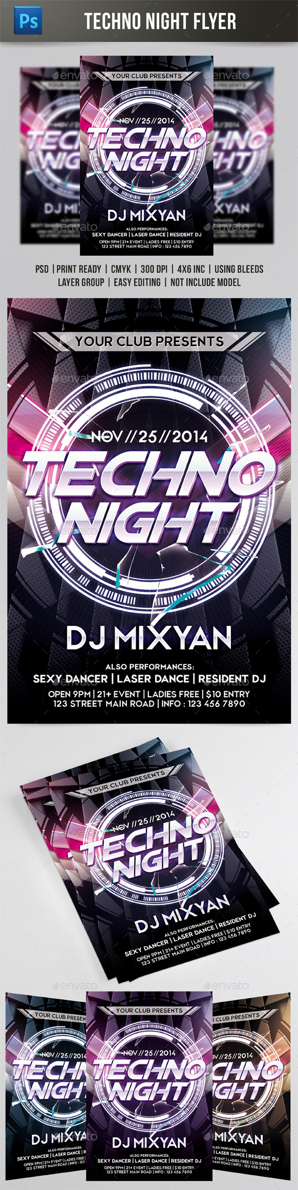 Techno Night #2 Flyer - Events Flyers
