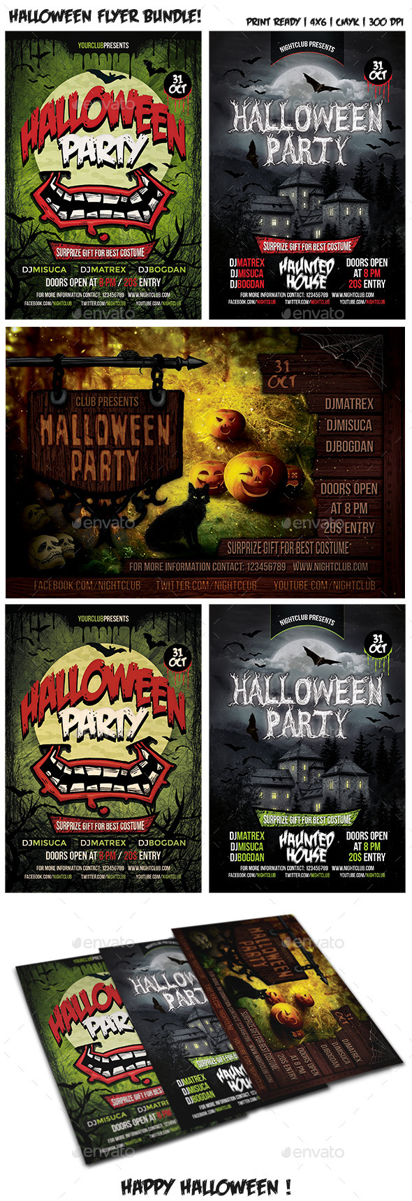 Halloween Party Flyer Bundle Vol. 2 - Clubs & Parties Events