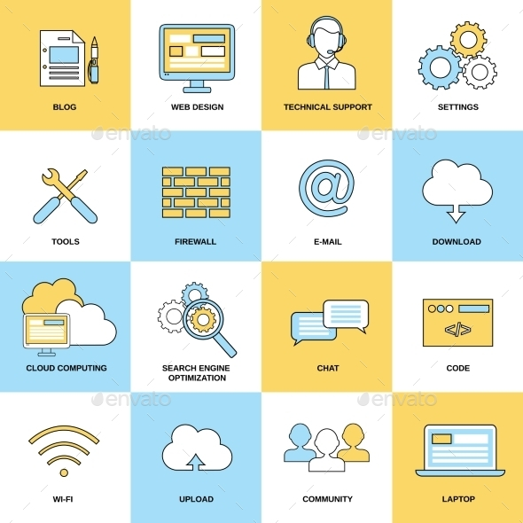 Web Flat Line Icons - Business Icons