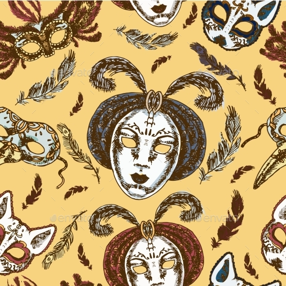 Carnival Masks Seamless Pattern - Backgrounds Decorative