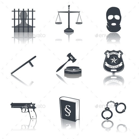 Law and Justice Icons Black - Web Elements Vectors