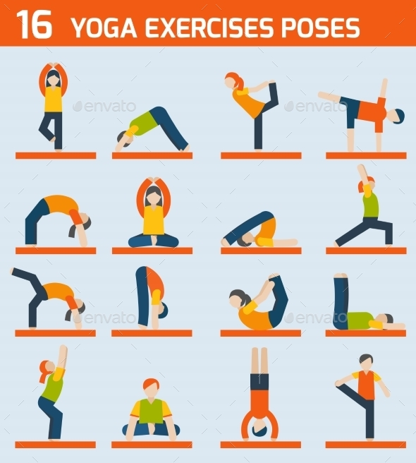 Yoga Exercises Icons - Sports/Activity Conceptual