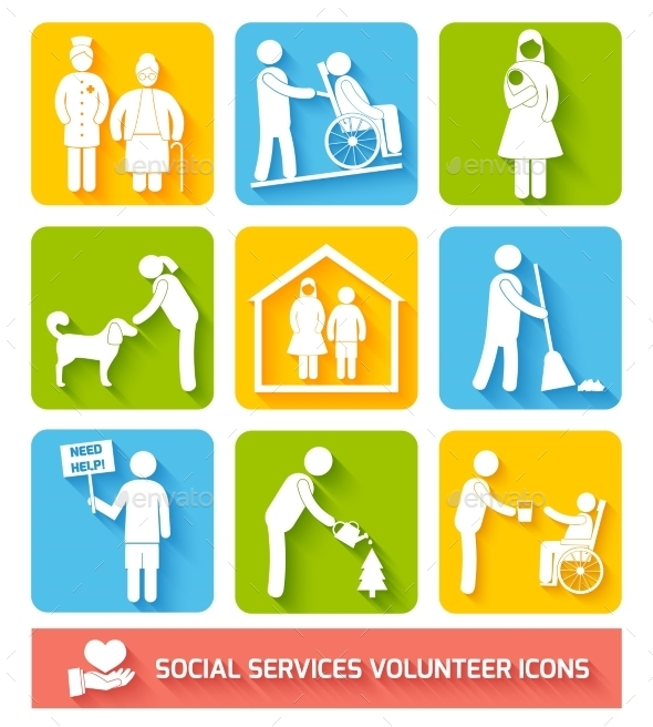 Social Services Icons Set Flat - Web Technology
