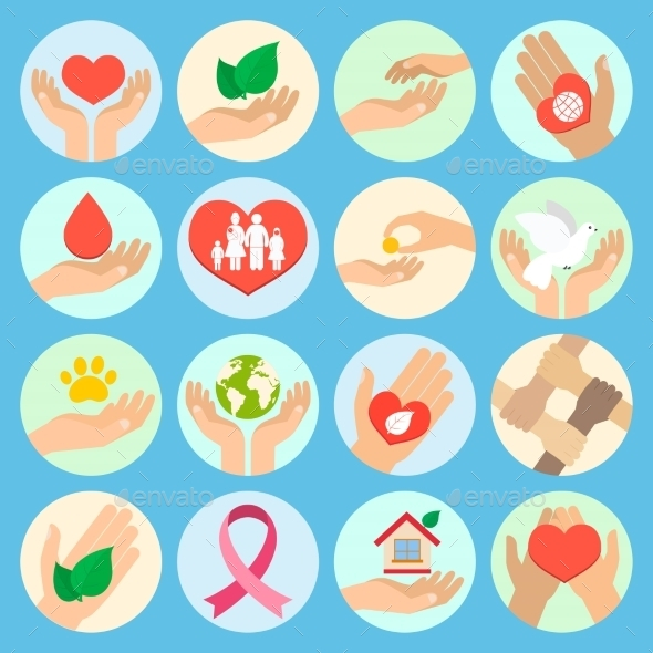Charity and Donation Icons - Web Technology