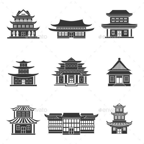 Chinese House Icons Black - Buildings Objects