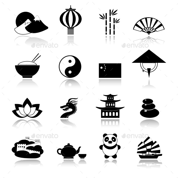 China Icons Set Black - Travel Conceptual