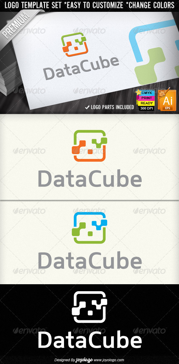 Data Cube Abstract Digital Electronics Logo Design - Objects Logo Templates