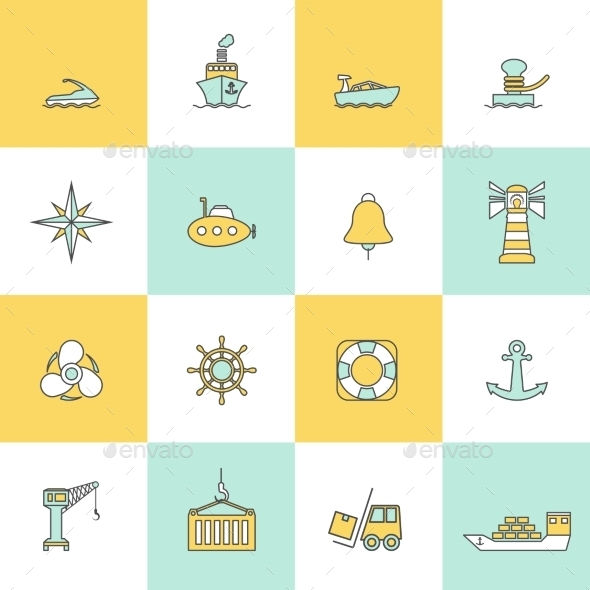 Sea Port Icons Flat Line Set - Technology Icons