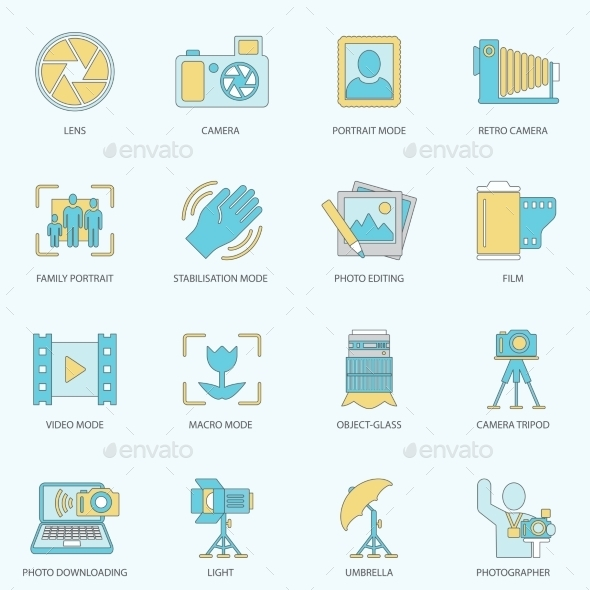 Photography Icons Flat Line - Media Technology
