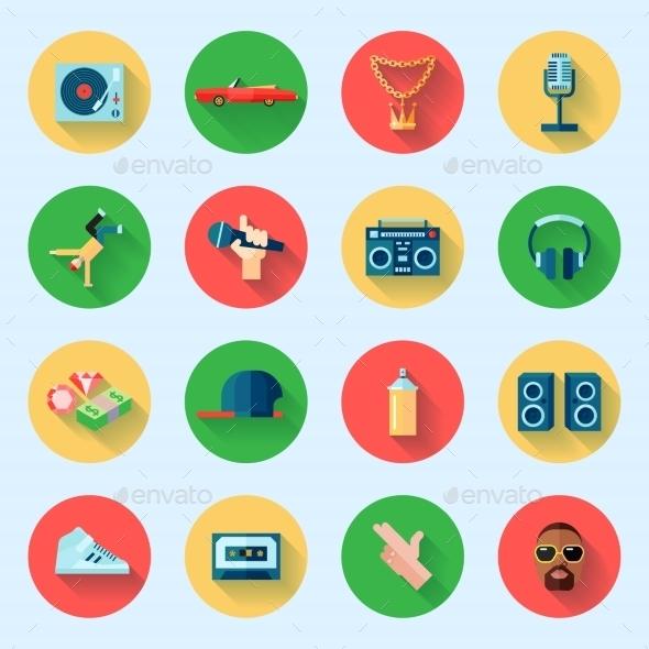 Rap Music Icons Set - Web Elements Vectors