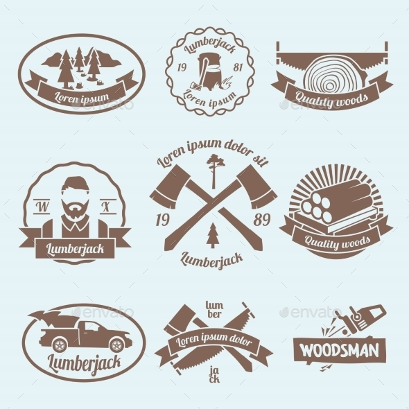 Lumberjack Woodcutter Label - Industries Business