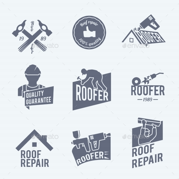 Roofer Label Set Grey - Industries Business