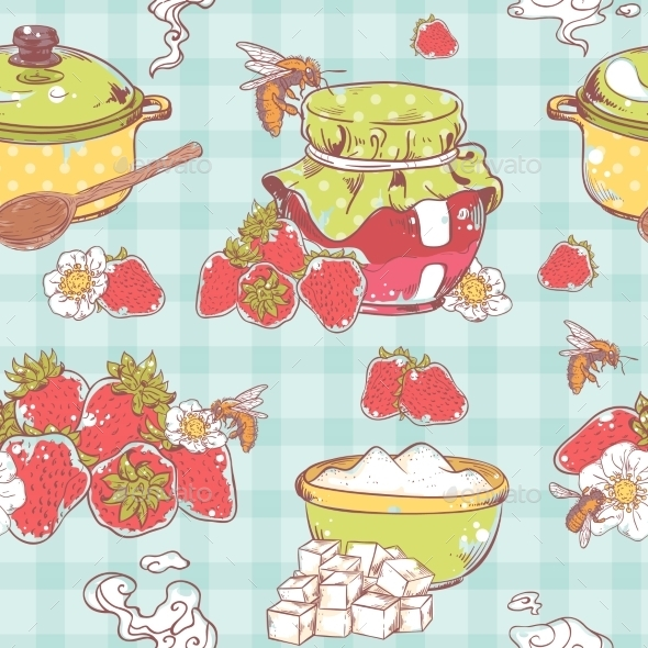 Strawberry Jam Seamless Pattern - Food Objects