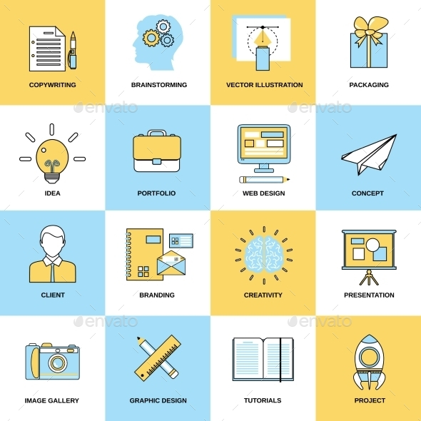 Advertising Flat Line Icons - Business Icons