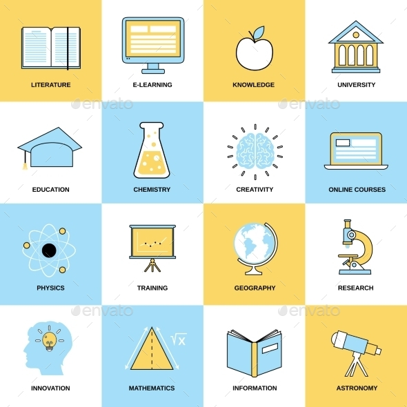 Education Flat Line Icons - Business Icons