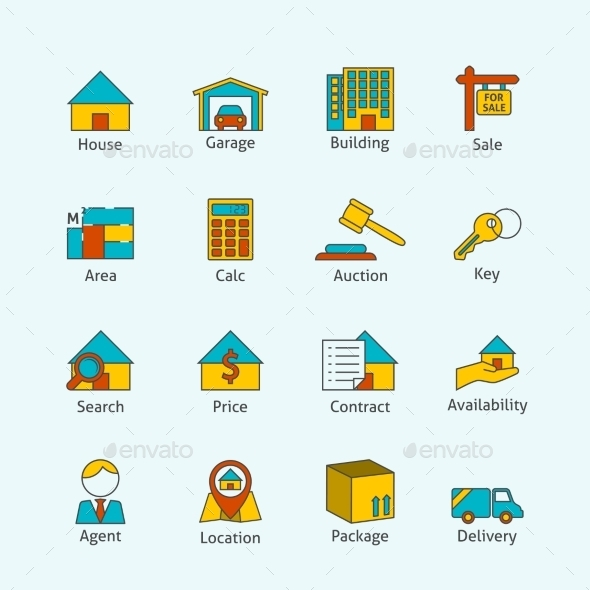 Real Estate Flat Line Icons - Buildings Objects