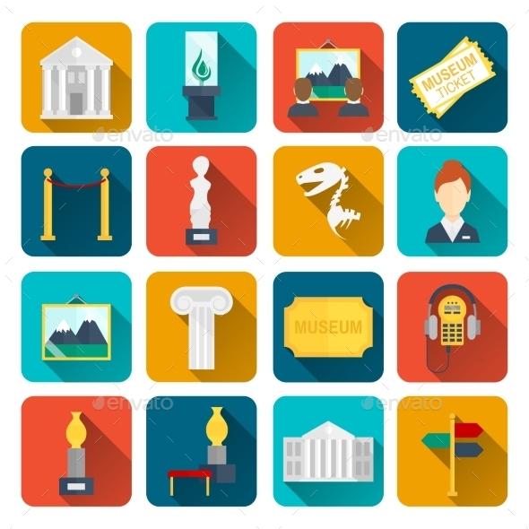 Museum Icons Flat - Web Elements Vectors
