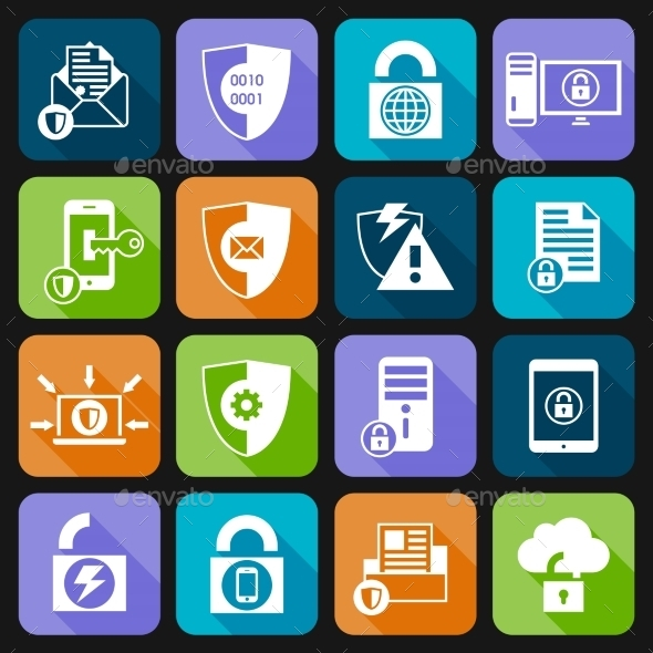 Data Protection Security Icons - Web Technology