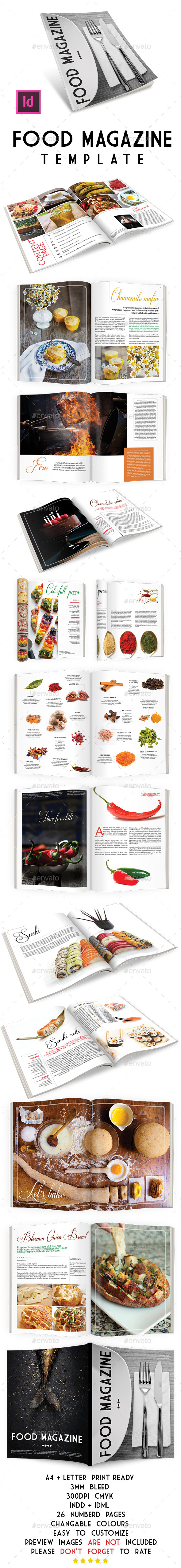 Food Magazine Template - Magazines Print Templates