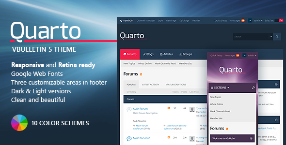 Download Free Quarto — vBulletin 5 Responsive Retina Ready Theme
