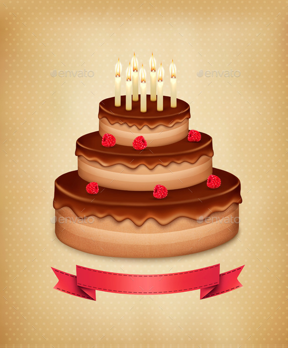 Background with Birthday Chocolate Cake - Miscellaneous Seasons/Holidays