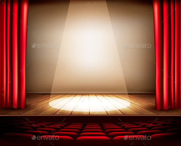 A Theater Stage with a Red Curtain Seats - Backgrounds Decorative