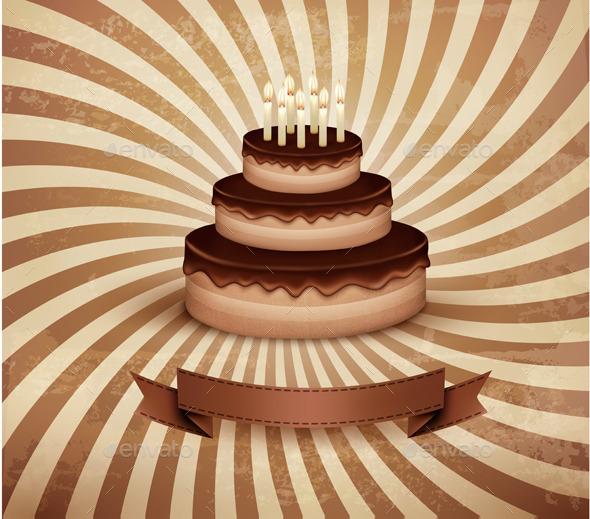 Retro Background with Birthday Chocolate Cake - Birthdays Seasons/Holidays