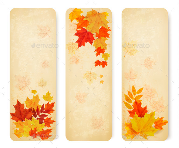 Retro Autumn Banners with Colorful Leaves - Flowers & Plants Nature