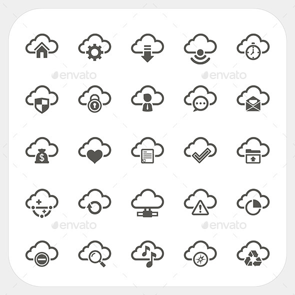 Cloud Icons Set - Web Technology
