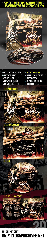 Rock Attack Mixtape Cover - CD & DVD Artwork Print Templates