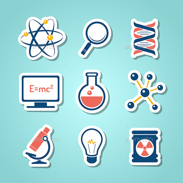 Chemistry And  Science Paper Cut Icons - Conceptual Vectors