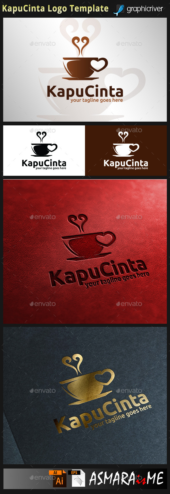 Kapucinta - Love Cappuccino Coffee Logo - Food Logo Templates