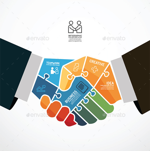 Businessman Handshake Jigsaw Template  - Infographics