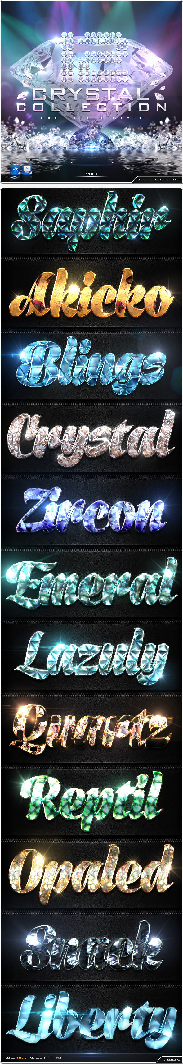 12 Crystal Collection Text Effect Styles Vol.1 - Text Effects Styles