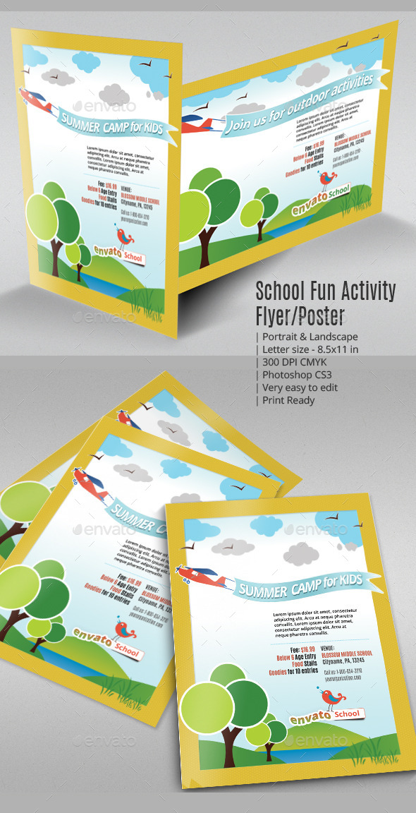 School Fun Activity Flyer or Poster - Flyers Print Templates