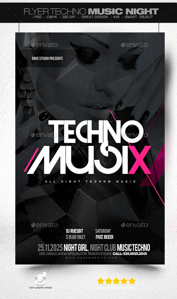 Flyer Techno Music Night - Clubs & Parties Events