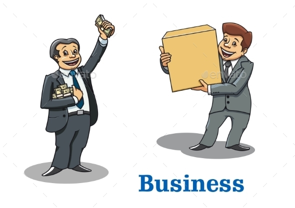 Cartoon Happy Businessmen Characters - Concepts Business