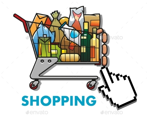Shopping Cart with Groceries - Retail Commercial / Shopping