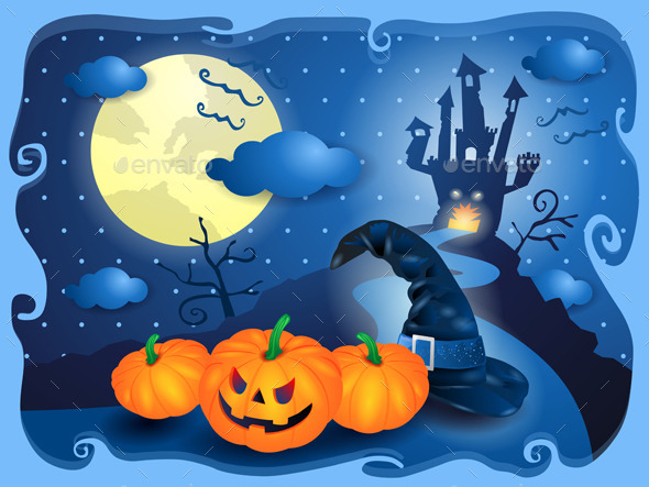 Halloween Background in Blue - Halloween Seasons/Holidays