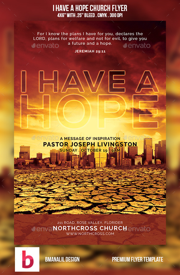 I Have a Hope Church Flyer - Church Flyers