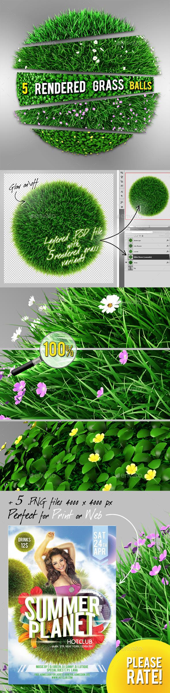 5 Grass | Flowers Balls - Miscellaneous 3D Renders