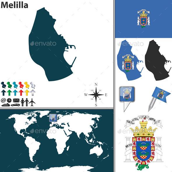 Map of Melilla - Travel Conceptual