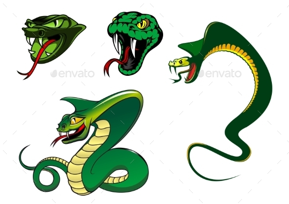 Cartoon Angry Snake Characters - Animals Characters