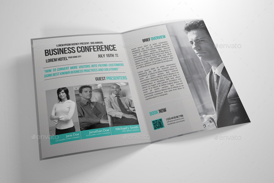 Half-Fold Business Conference Brochure Template By Petumdesign