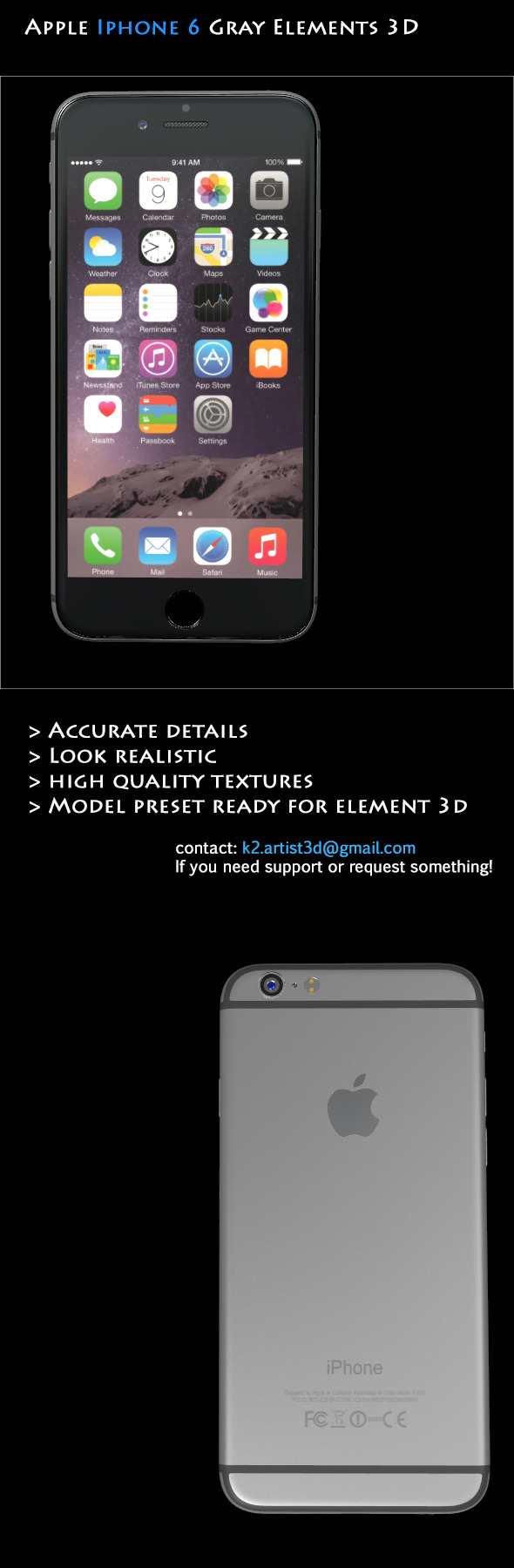 Element3D - Apple Iphone 6 Gray - 3DOcean Item for Sale